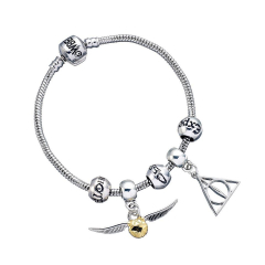 Harry Potter Charm Set- Silver Bracelet/Deathly Hallows/ Snitch/ 3 Spellbeads- HP0090