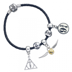 Harry Potter Charm Set- Black Leather Bracelet/Deathly Hallows/ Snitch/ Platfrom 9 3/4/ 2 Spellbeads- HP0091