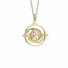 Official Harry Potter Time Turner Sterling Silver, Gold Plated Necklace embellished with Crystals