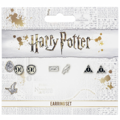 Official Harry Potter Stud Earring Set including Platform 9 3/4, Hedwig & Letter, and the Deathly Hallows earrings WE0107